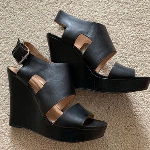Audrey Brooke Black Leather Wedge Platforms